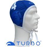 *Populair* Turbo waterpolo cap blauw nummer 4