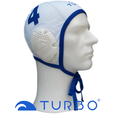 *Special made* Turbo Waterpolocap wit nummer 4 (Mini/Jeugd)