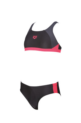 Arena G Ren Two Pieces black-grey-fluo-red 10-11