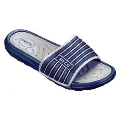 *OUTLET* BECO Sportieve heren slipper, grijs/blauw, maat 50