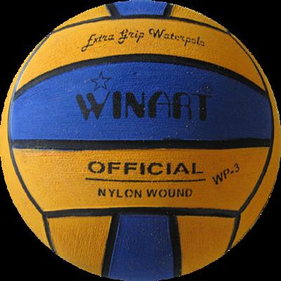 Winart waterpolo bal mini-polo maat 3 geel blauw
