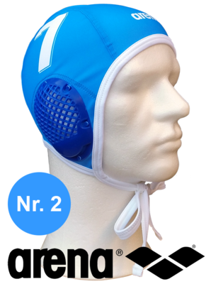 Arena waterpolo cap (size m/l) blauw nummer 2