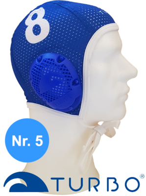 *Special Made* Turbo Waterpolo cap (size m) New Generation Blauw nummer 5