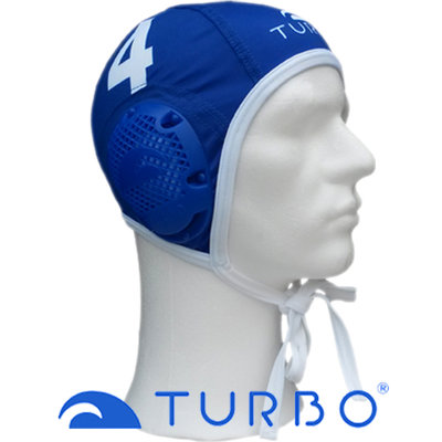 *populair* Turbo Waterpolo Cap (size m/l) Professional blauw nummer 6