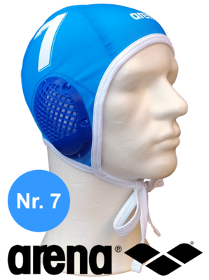 Arena waterpolo cap (size m/l) blauw nummer 7
