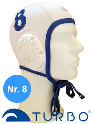 *Special made* Turbo Waterpolo cap (size m) New Generation wit nummer 8