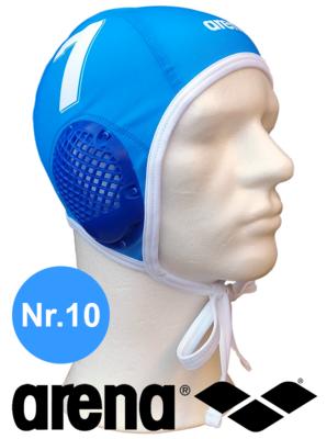 Arena waterpolocap (size m/l) blauw nummer 10