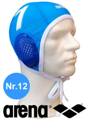 Arena waterpolo cap (size m/l) blauw nummer 12