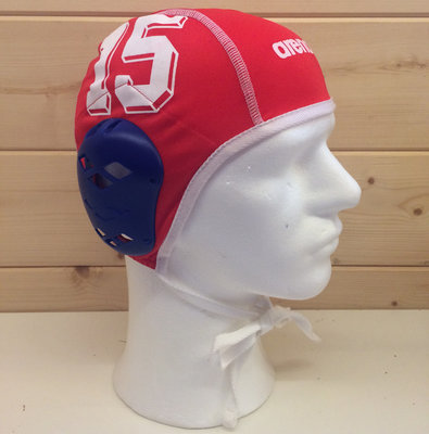 *showmodel* Arena waterpolo cap (size s/m) keeper rood wit nummer 15 op=op