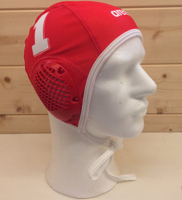 *showmodel* Arena waterpolocap (size m/l) keeper wit nummer 1