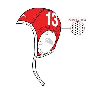 *showmodel* Turbo Waterpolo Cap (size m) New Generation Keeper Rood wit 1