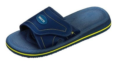BECO EVA slipper met klittenband, blauw/geel, maat 42