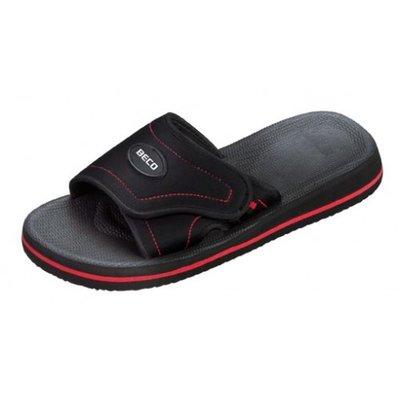 BECO EVA slipper met klittenband, zwart/rood, maat 42
