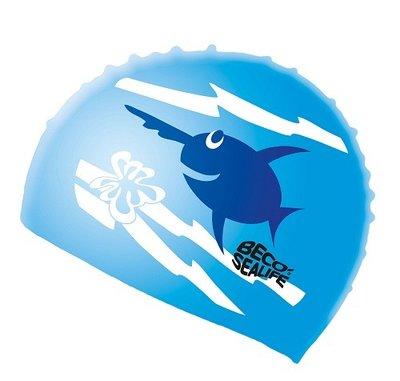 BECO Kinder badmuts, silicone, sealife, blauw