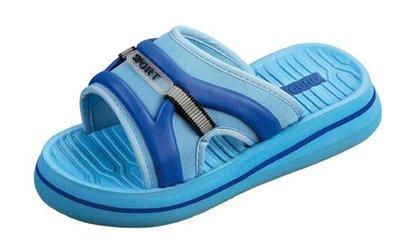 BECO Eva kinder slipper met voetbed, licht blauw, maat 28