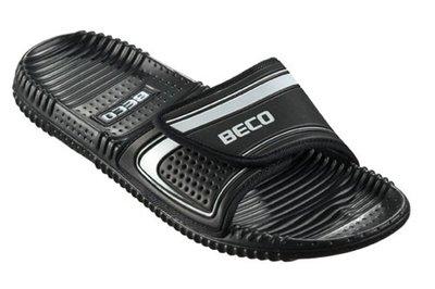 BECO Slipper met voetbed en klittenbandsluiting, zwart/zilver, maat 38
