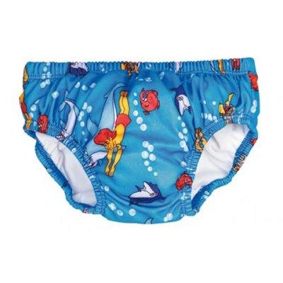 BECO Baby zwemluier, slip-vorm, dolfijntjes motief, blauw, maat M