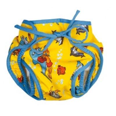 BECO Baby zwemluier, luier-vorm, dolfijntjes motief, geel, maat M