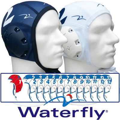 Waterpolo Cap Waterfly Teamset White and Blue(26 pcs.)