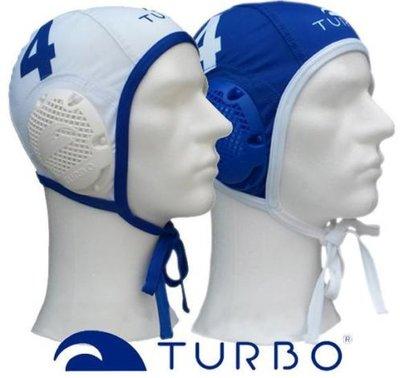 Turbo Waterpolo Cap set wit en blauw Nr. 9