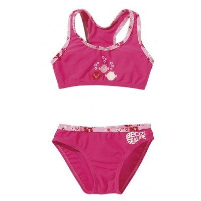 BECO UV-beschermende bikini Sealife, roze kindermaat 104