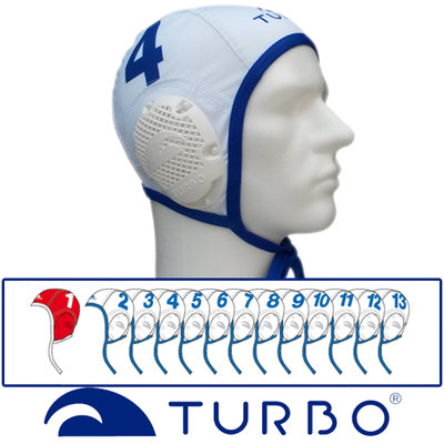Turbo Waterpolo Cap set wit 16 stuks