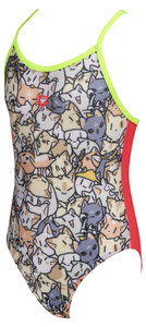 Arena Kitties Kids Girl One Piece multi-fluo-red-s.green 6-7Y